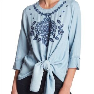 Given Kale Chambray Embroidered Tie Top